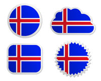 Iceland flag labels Stock Images