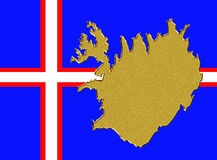 Iceland flag with map Stock Photos