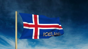 Iceland flag slider style with title. Waving in stock video footage