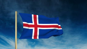 Iceland flag slider style. Waving in the wind with stock video