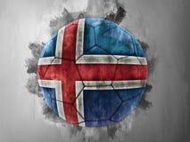 Iceland flag on a soccer ball. Illustration Stock Images