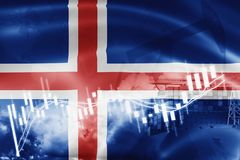 Iceland flag, stock market, exchange economy and Trade, oil production, container ship in export and import business and logistics. Background, banner, candle stock illustration