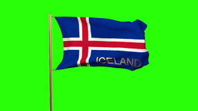 Iceland flag with title waving in the wind stock video footage