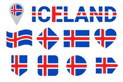 Iceland flag vector set. Collection of Icelandic national flags. Flat isolated icons. Country name in traditional colors. Web, spo stock illustration