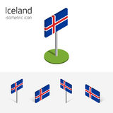 Iceland flag, vector set of 3D isometric icons Stock Images