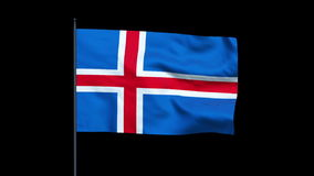 Iceland Flag Waving, Seamless Loop, Alpha, stock footage Stock Images