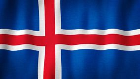 Iceland flag waving in the wind. Closeup of realistic Icelandic flag with highly detailed fabric texture