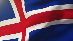 Iceland flag waving in the wind. Looping sun rises stock video