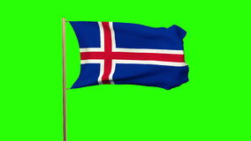 Iceland flag waving in the wind. Looping sun rises stock video footage