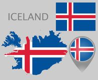 Iceland flaga, mapa i mapa pointer, royalty ilustracja