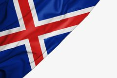 Iceland flaga tkanina z copyspace dla tw?j teksta na bia?ym tle royalty ilustracja