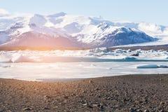 Iceland freeze winter season. Natural landscape background Stock Images