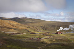 Iceland: Geothermal energy. Geothermal power plant near Myvatn lake district. Iceland produces almost all their energy with renewal energy source - geothermal stock photography