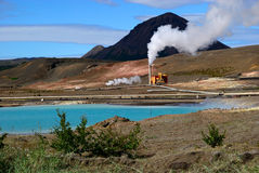 Iceland geothermal power plant Stock Image
