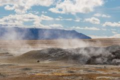 Iceland geothermal zone Namafjall - area in field of Hverir. Landscape which pools of boiling mud and hot springs. Tourist and. Iceland geothermal. Namafjall stock image