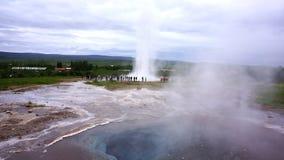 Iceland Geyser. The popular Strokkur Geyser erupts in Geiser, Iceland Royalty Free Stock Photo