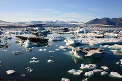 Iceland Glacier. Iceland is a glaciated country. Approximately 11% of Iceland's total area of roughly 100.000 km2 is covered by glaciers Stock Photos
