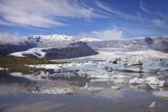 Iceland: Glacier lake and blue sky Stock Photography