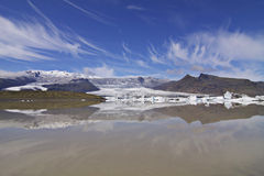 Iceland: Glacier lake and blue sky Stock Photo