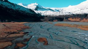 Free Iceland Glacier River Spill Global Warming Aerial Royalty Free Stock Images - 168252029