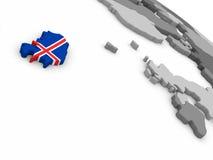 Iceland on globe with flag Royalty Free Stock Photo