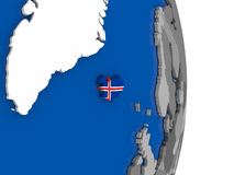 Iceland on globe with flag Stock Photos