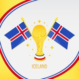 Iceland Gold Football Trophy / Cup and Flag vector illustration