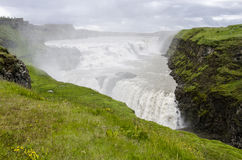 Iceland- Golden Circle-Gullfoss. Golden Falls-Panorama Royalty Free Stock Images