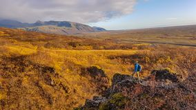 Iceland - Golden field. Hiking in the unknown royalty free stock photos