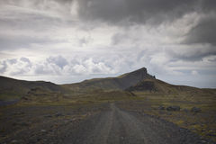 Iceland: gravel road in tundra Stock Image