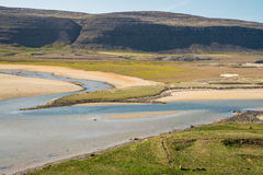 Iceland green landscape with river delta Stock Photos