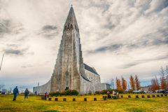 Iceland Hallgrimskirkja Cathedral in Reykjavik stock photography
