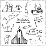 Iceland hand drawn doodle set. Sketches. Vector illustration for design and packages product. Symbol collection.  royalty free illustration