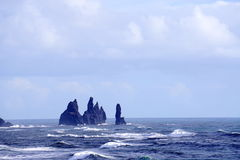 Iceland headland. With ocean, rocks, mountains, big waves in ocean, sea stacks black sand beach Royalty Free Stock Photography