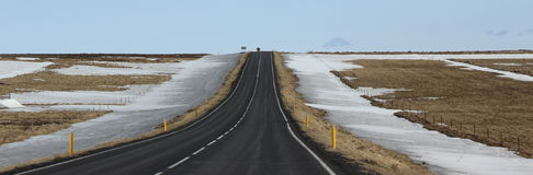 Iceland highway snow south region Royalty Free Stock Image