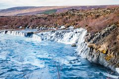 iceland hraunfossar siklawa Jesień krajobraz zdjęcie royalty free
