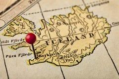 Iceland i Reykjavik na rocznik mapie obrazy stock