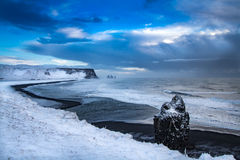 Iceland. Ic  landscape country side panoramic view black volcanic beach Royalty Free Stock Photos