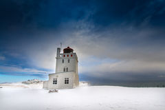 Iceland. Ic Lighthouse  summer hotel  before storm Stock Images