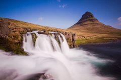 Iceland. Ic summer landscape country side Kirkjufell waterfall Stock Photo