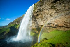 Iceland. Ic summer landscape country side Seljalandsfoss waterfall Stock Photography