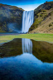 Iceland. Ic summer landscape country side Skogafoss waterfall Royalty Free Stock Image