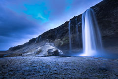 Iceland. Ic winter  landscape country side Seljalandsfoss  waterfall Royalty Free Stock Image