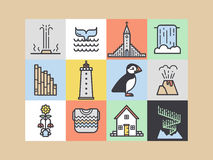 Iceland icons and symbols. Royalty Free Stock Photos