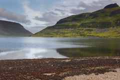 Iceland. Isafjardaraiup fiord. Landscape with mountains and lake Royalty Free Stock Photos