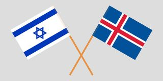 Iceland and Israel. The Icelandic and Israeli flags. Official colors. Correct proportion. Vector. Illustration royalty free illustration
