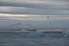 Iceland Jokulsarlon góry lodowa chmurny lodowiec obrazy stock