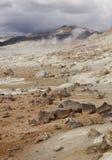 Iceland. Krafla. Active volcanic zone. Hot volcanic rocks. Stock Image