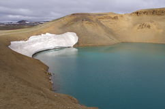 Iceland - Krafla volcano with glacier Royalty Free Stock Image