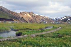 Iceland krajobraz z gorącą rzeką w Landmannalaugar Obraz Royalty Free